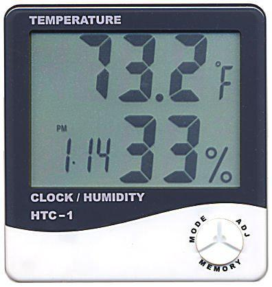 Digital LCD Thermometer Temperature Humidity Meter with Clock Calendar Alarm HTC-1