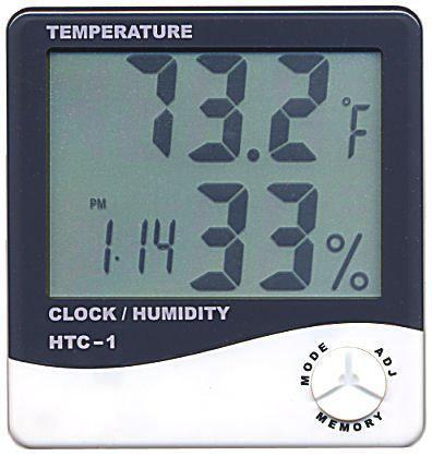 Multi-funktion HTC-1 Digital LCD-temperatur Luftfuktighet Hygrometertermometer Klockfuktighetsmätare med klockkalenderlarm