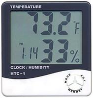 Wholesale Temperature Humidity Clocks - 200pcs lot Digital LCD Thermometer Temperature Humidity Meter with Clock Calendar Alarm HTC-1