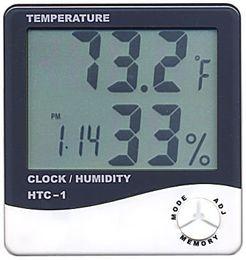 2019 semi di mais all'ingrosso 200pcs / lot Termometro LCD digitale Misuratore di umidità con orologio calendario sveglia HTC-1