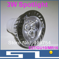 3W LED Spotlight Bulb, MR16 / GU10 / E27base, lampada LED ad alta luminosità Salva Power 3 * 1W, certificazione CE / ROHS, 20pcs / Lot
