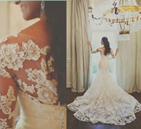 Wholesale Hot Selling Vintage Illusion Bateau Long Sleeve Beading Appliques Ruched Organza Chapel Train Princess Gown Mermaid Wedding Dresses