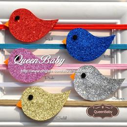 Wholesale Nylon Bird - Glitter Mini Bird Headband Shining Bird Kids Nylon Hairband Newborn Photography 50pcs LOT QueenBaby Trial Order