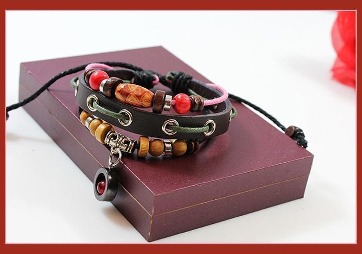 Freies Verschiffen hohes echtes Leder-Weinlese-Armband-Retro- Art- und Weisemädchen-Armband-wulstige Schmucksachen .fdgfggfgf