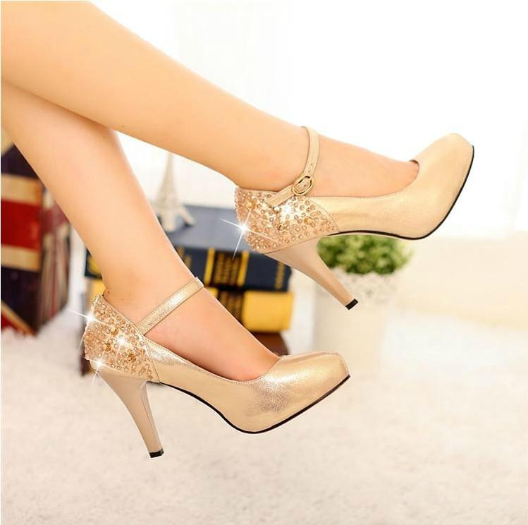 Autumn New Arrival Lady Sexy Shoes Golden Color Dress Shoes Woman ...