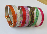 Wholesale Wholesale 8mm Leather Band - whole sale Free Shipping 50PCS 8mm Sequins wrist band Fit 8MM slide charms slide letters