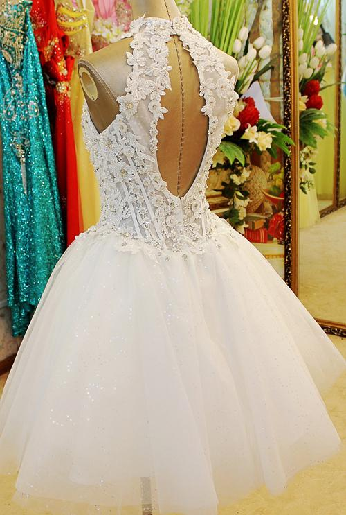 Best Selling 2019 Fashion Sleeveless Beaded Key-Hole Back A-line Short Party Prom Dresses Evening Dresses Xi50
