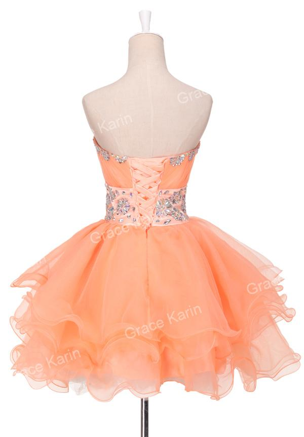Grace Karin Charming Strapless Short Orange Lace Up Homecoming Dresses Pleated Crystals Ball Gown Tulle Prom Cocktail Dress CL4793