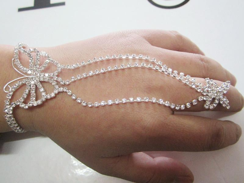 New Buttlerfly Rhinestone bracelet, slave hand chain with finger ring and extender chain, 1piece Free ship