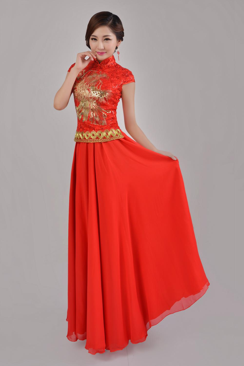 e93353b57 color: red. size:S,M,L,XL,XXL. elegant slimming Chinese style red cheongsam  wedding dress ankle length two-piece dress sequins phoenix embroidery stand  ...