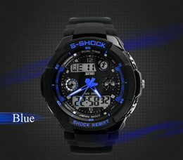 Wholesale Waterproof Dive Watches For Men - Sports Watch For Men Brand Multifunction Watch Digital Climbing Dive Watch Shock Resistant Wristwatch 30M Waterproof PU Strap High-Quality