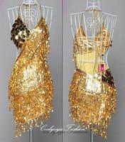Wholesale Party Dress Leotard - Lady Cocktail Club Wear Party Latin Dance Asymmetric Sequin Fringe Dress 3 colors