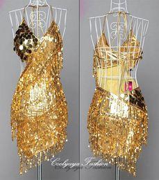Wholesale Gold Latin Dress - Lady Cocktail Club Wear Party Latin Dance Asymmetric Sequin Fringe Dress 3 colors