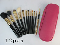 Wholesale Pouch Makeup Brush - lowest price  High quality new HOT pink 12 Pcs set Professional Makeup Brushes with leather pouch