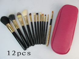 low price makeup Coupons - lowest price  High quality new HOT pink 12 Pcs set Professional Makeup Brushes with leather pouch