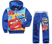 Wholesale Mcqueen Baby Clothes - Children Clothing Baby Boys Lighting Mcqueen 2Piece Outfit Set Cartoon Kids Hoodies Sweatshirts Hooded Shirt & Pants Autumn Suits