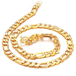 Wholesale 24k Real Gold Chain Necklace - Real Solid 24K Yellow Gold necklace Curb chain Link Chain