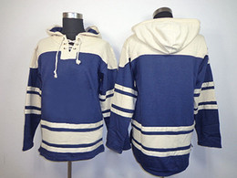 Wholesale Xxl Mens Hoodies Cheap - 2014 New Maple Leafs Blank Hooded Hockey Jerseys Navy Blue Mens Winter Outdoor Sports Jackets High Quality Cheap Athletic Hoodies HOT SALE
