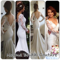 Bridal Couture Mermaid Satin Wedding Dresses With Sheer Long Sleeve Lace Bodice Chapel Train Dhyz 01