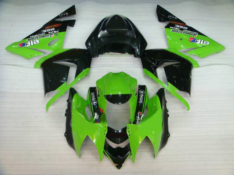 Motorcykel Fairing Kit för Kawasaki Ninja ZX10R 04 05 ZX 10R 2004 2005 ZX-10R Green Gloss Black Fairings Set + 7Gifts KJ32