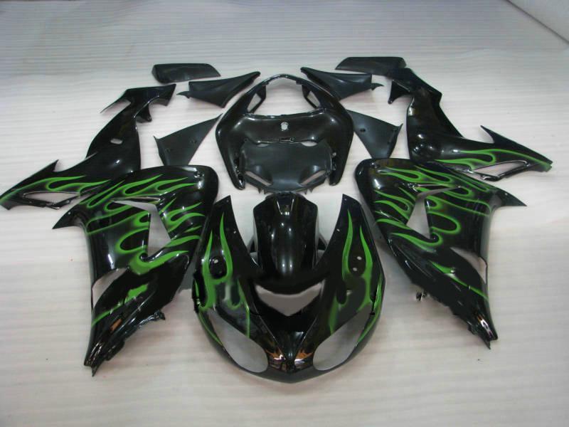 Kit de carenado de motocicleta para KAWASAKI Ninja ZX10R 06 07 ZX 10R 2006 2007 ZX-10R Llamas verdes brillo negro Carenados conjunto KI20