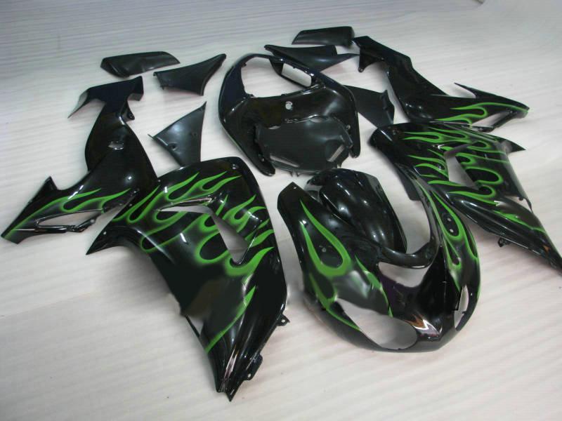 Motorrad Verkleidungsset für KAWASAKI Ninja ZX10R 06 07 ZX 10R 2006 2007 ZX-10R Grüne Flammen schwarz glänzend Verkleidungsset KI20