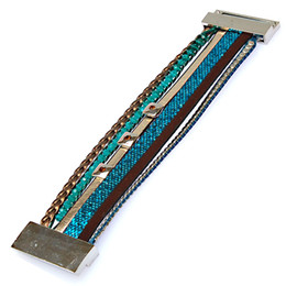 Crystal Sliders Canada - Newest Arrival Multilayer Brazilian Style Colorful Leather Magnetic Wrap Bracelet with crystal