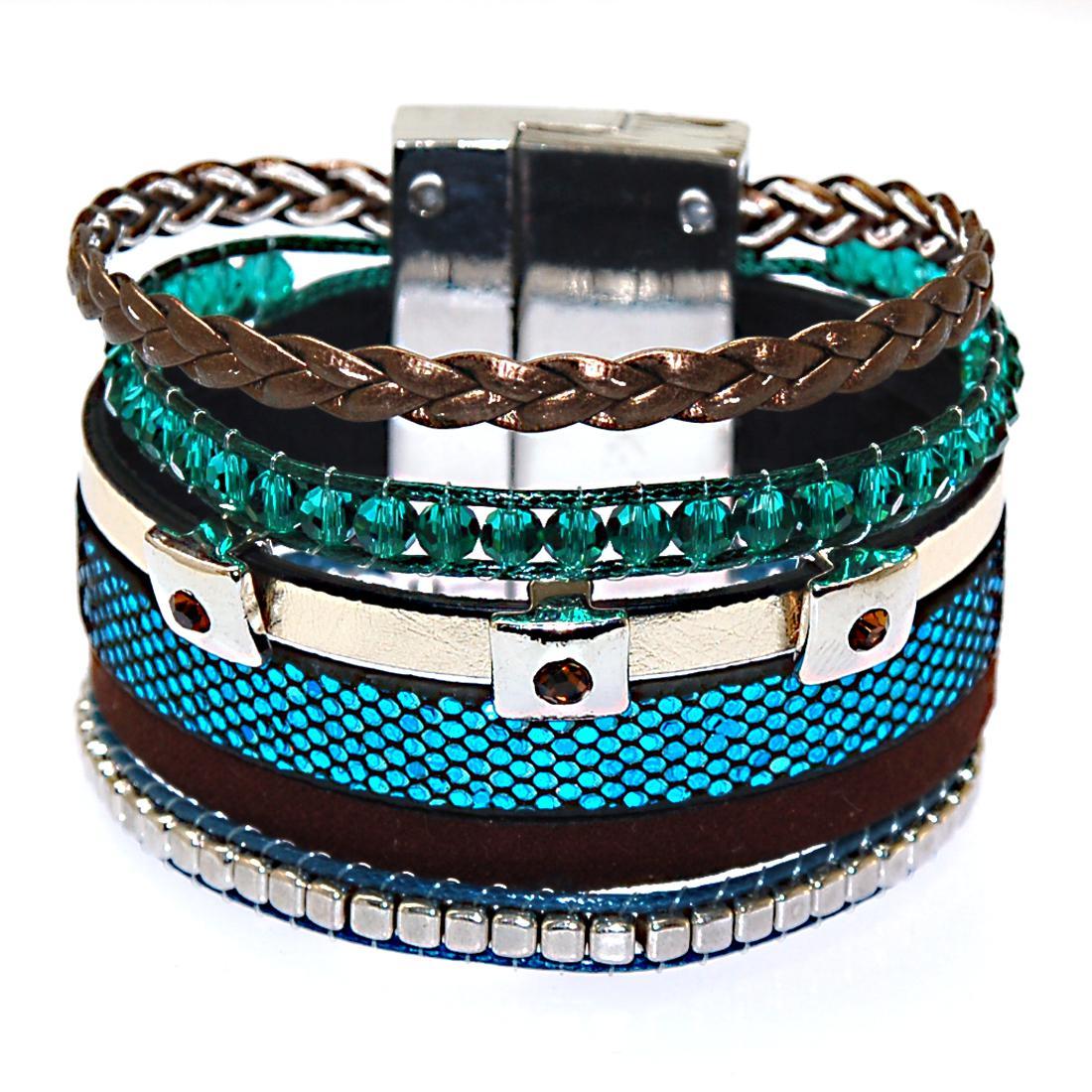 Neueste Ankunft Multilayer Brazilian Style Bunte Leder Magnetic Wrap Armband mit Kristall