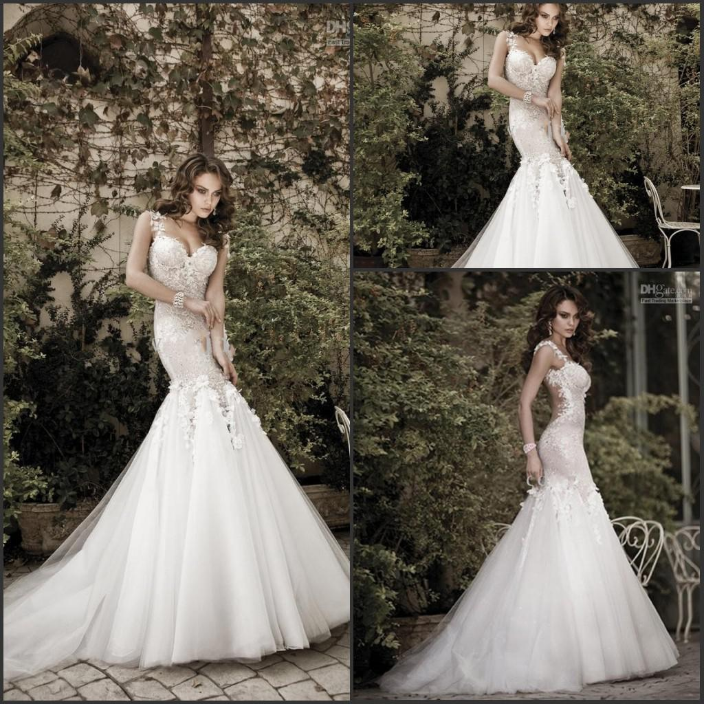 Stunning 2014 Galia Lahav Wedding Dress Floral Straps Mermaid Lace ...