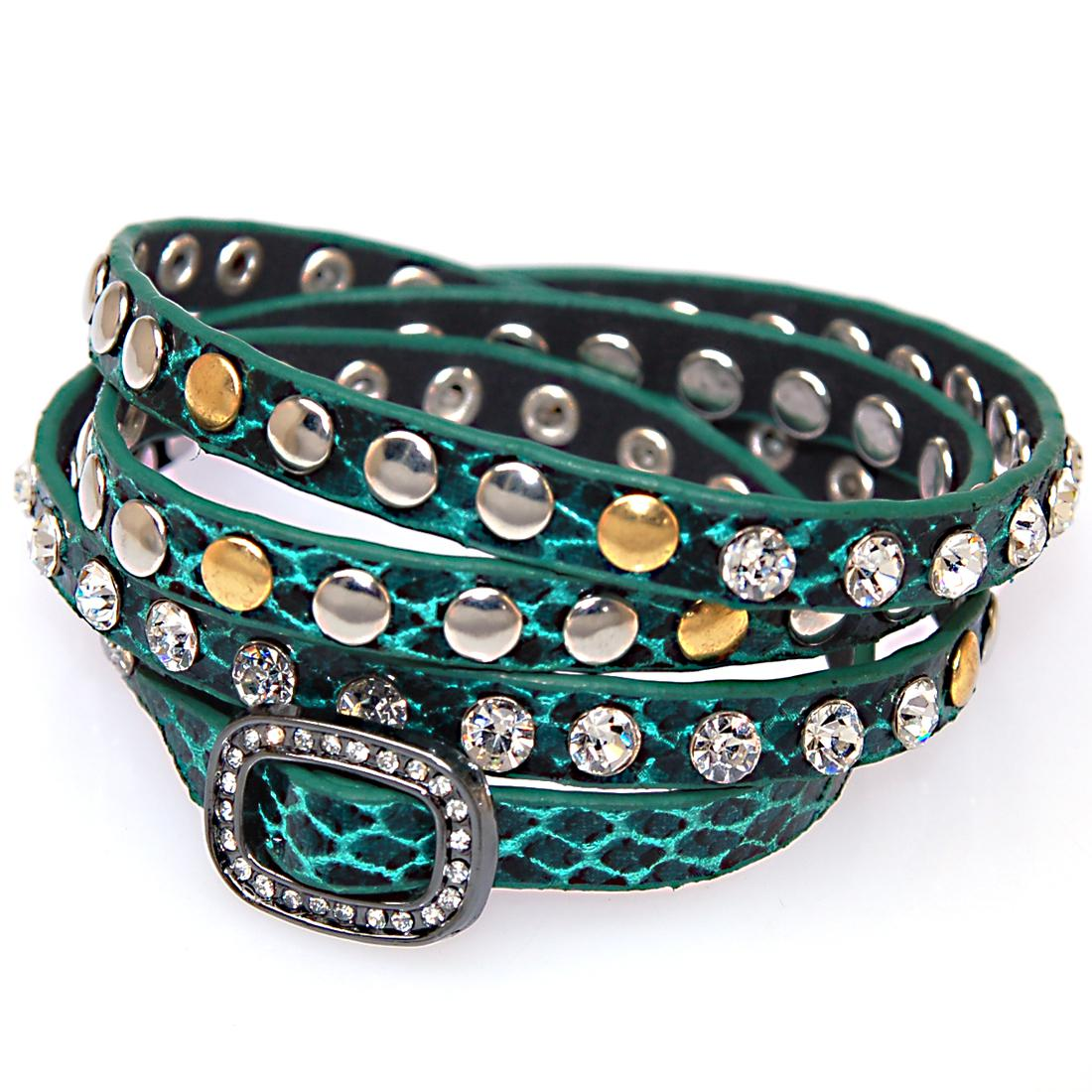 Double Wrap leather wrap bracelet,wrap Bracelets with crystal buckle,wrapped studded Bracelets with crystal and metal rivet
