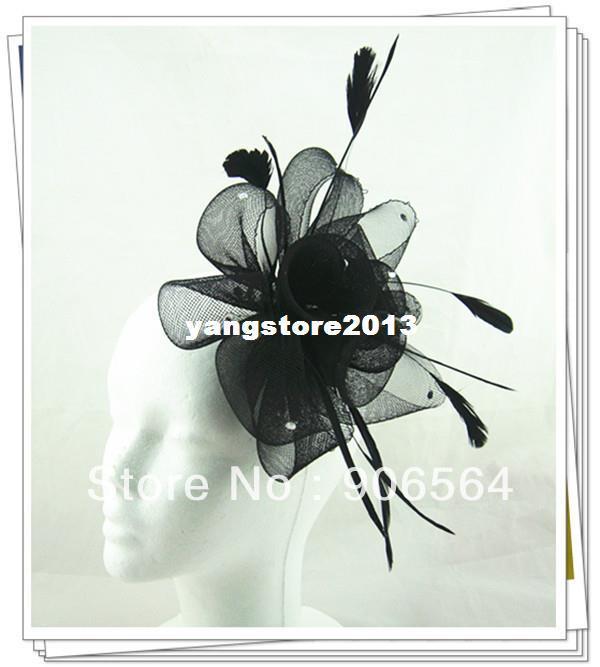 Zarar para satış ve ücretsiz kargo 17 renkler tüy fascinator şapkalar, güzel rhinestone dekorasyon tüy saç aksesuarları MSF185