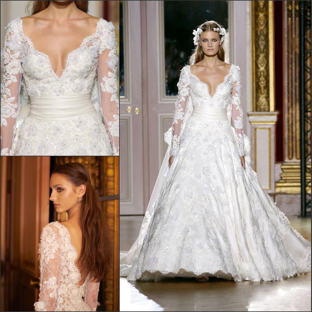 Discount Zuhair Murad Fall 2012 Couture Wedding Dress Lace Long Sleeves Train V Neck Open Back Bridal Gown Bri 159 From Ufind