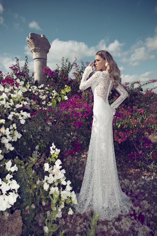 2014 New Julie Vino V Neck Fitting Lace See Though Back Long Sleeves Bridal Wear Wedding Dresses BRI-160