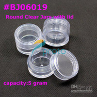Wholesale Small Clear Jars Lids - Wholesale - [AJ312]200pcs 5g small clear round bottle jars with lids hard plastic pot nail art storage #BJ060
