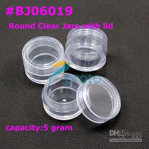 top popular Wholesale - [AJ312]200pcs 5g small clear round bottle jars with lids hard plastic pot nail art storage #BJ060 2019