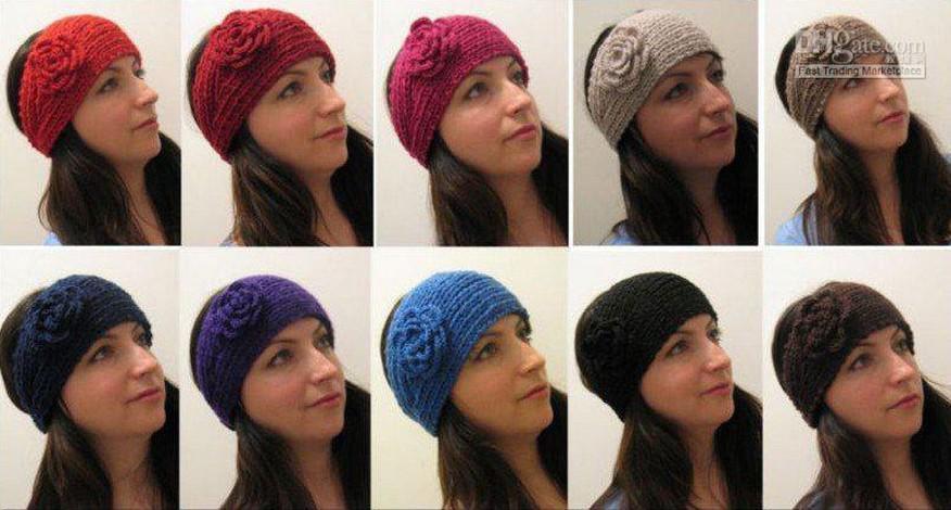 ホットセール/女性ニットヘッドバンド花、かぎ針編み髪のヘッドバンド - 手作りヘアアクセサリーミックス
