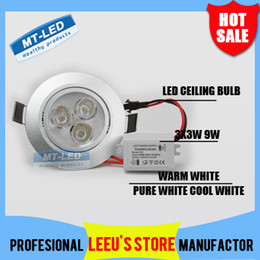 Wholesale Down Bulb 9w - Retail sales High power 9W LED Recessed Ceiling Down Light 85-265V 900lm led bulb lamp led downlight spotlight lighting free shipping