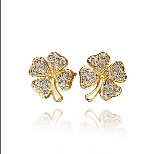 Top quality 18K gold plated rhinestone crystal clover stud earring fashion party jewelry christmas gift