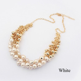 Wholesale Girls Pearls Chunky Necklace - Retro Graceful Chunky Chain False Pearl Pendant Necklace Jewelry for Women Lady Girl SF044