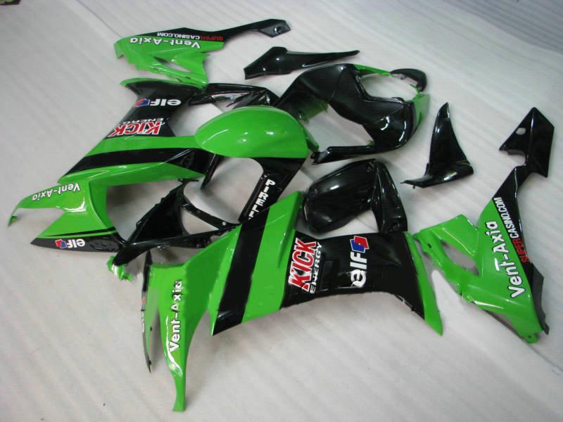Motorcykel Fairing Kit för Kawasaki Ninja ZX10R 08 09 ZX 10R 2008 2009 ZX-10R Green Gloss Black Fairings Set + Presenter KQ70