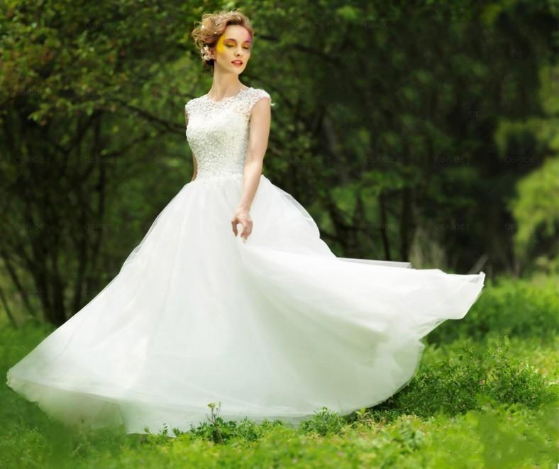 Discount 2014 Fairy Lace High Neck Wedding Dresses Vintage