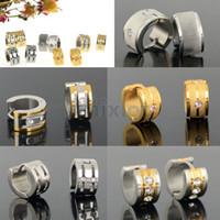 Wholesale Mix Order Stainless Steel Earrings - Steel Men's Women's Hoop Earrings Fashion Jewelry Mix order 10pair lot Stainless Steel Silver Gold Earrings [JE01012-JE01016*2]