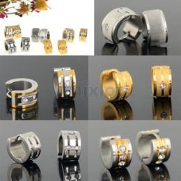 Wholesale Crystal Earring Hoop Steel - Steel Men's Women's Hoop Earrings Fashion Jewelry Mix order 10pair lot Stainless Steel Silver Gold Earrings [JE01012-JE01016*2]