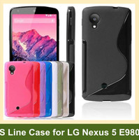 Wholesale Nexus S Line Tpu - Wholesale Fashion S Style Soft Cover Case for LG Nexus 5 E980 S Line TPU Cover Case for Google Nexus 5 30pcs lot Free Shipping