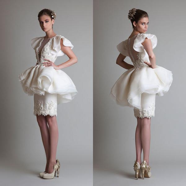 2019 Unique Design Cocktail Dresses Crew Appliques Button Sheath Column Knee Length Organza Lace See Through Prom Party Pageant Gowns