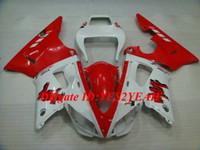 blanco yamaha r1 plastico al por mayor-Kit de carenado de motocicleta para YAMAHA YZFR1 98 99 YZF R1 1998 1999 YZF1000 ABS Plástico Rojo blanco Conjunto de carenados + Regalos YS07