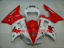 Discount fairing r1 white red Motorcycle Fairing kit for YAMAHA YZFR1 98 99 YZF R1 1998 1999 YZF1000 ABS Plastic Red white Fairings set+Gifts YS07
