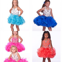 Wholesale Cheap Babies Dresses For Parties - 2014 New Halter Bling Little Girl's Pageant Dresses Ball Gown Glitz Cheap Organza Appliques Crystal Beads Baby Dress For Girls Kids Party