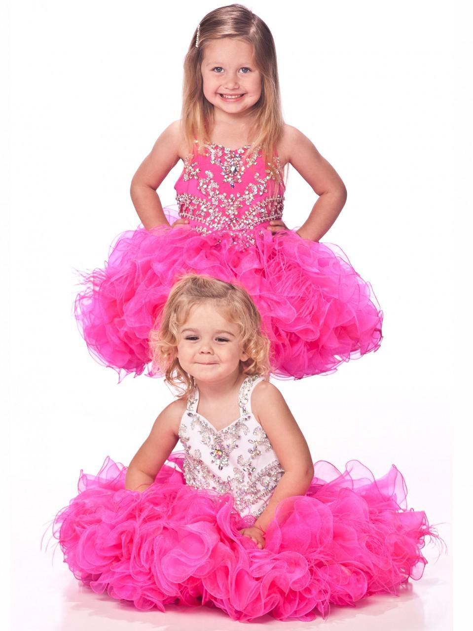 2019 New Halter Bling Abiti da spettacolo bambina Abito da ballo Glitz Appliques di organza a buon mercato Perline di cristallo abiti da desfile de niñas