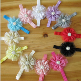 Wholesale Hair Clips Ribbon Diamond - Toddler Baby Girl Lace Flower Bead Diamond Hairband HeadBand Headwear Bow Hair Clip Pin Band Hair Accessory Jewelry Boutique Multicolor gift